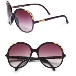 Chloe Oversized Plum Scalloped Edge Sunglasses